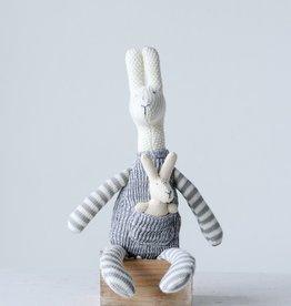 """18""""H Polyester & Cotton Knit Kangaroo w Baby, Grey"""