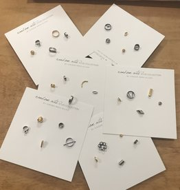 Ginger Meek Allen Random Acts Stud Collection- Oxidized Sterling Silver & 18k Vermeil/Set of 5