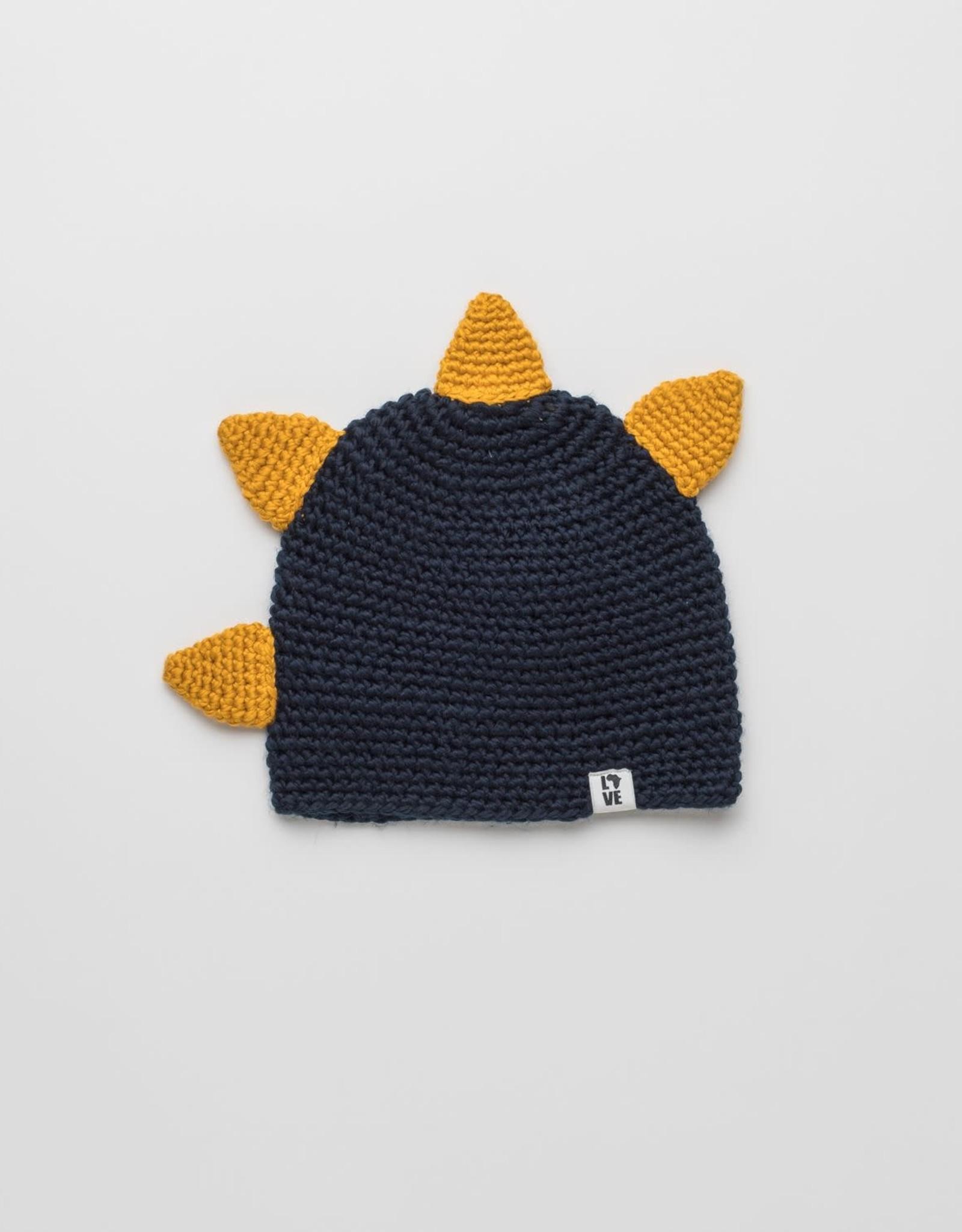 "known supply Eco Dino Children's Crochet Beanie w/""Spikes""- Navy/Gold O/S"
