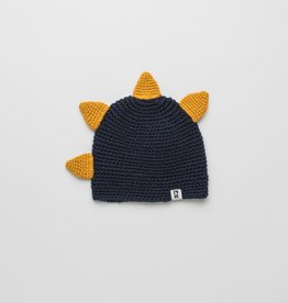 "known supply Eco Dino Children's Crochet Beanie w/""Spikes""- Navy/Gold O/S"
