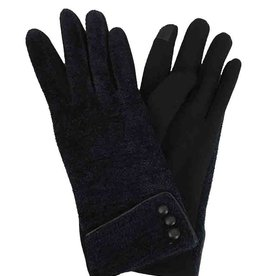 J & X International 3 Button Chenille Gloves