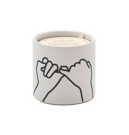 """Paddywax Impressions 5.75 oz. White Ceramic w/ """"Pinky Promise"""" White Fig & Cedar Candle"""
