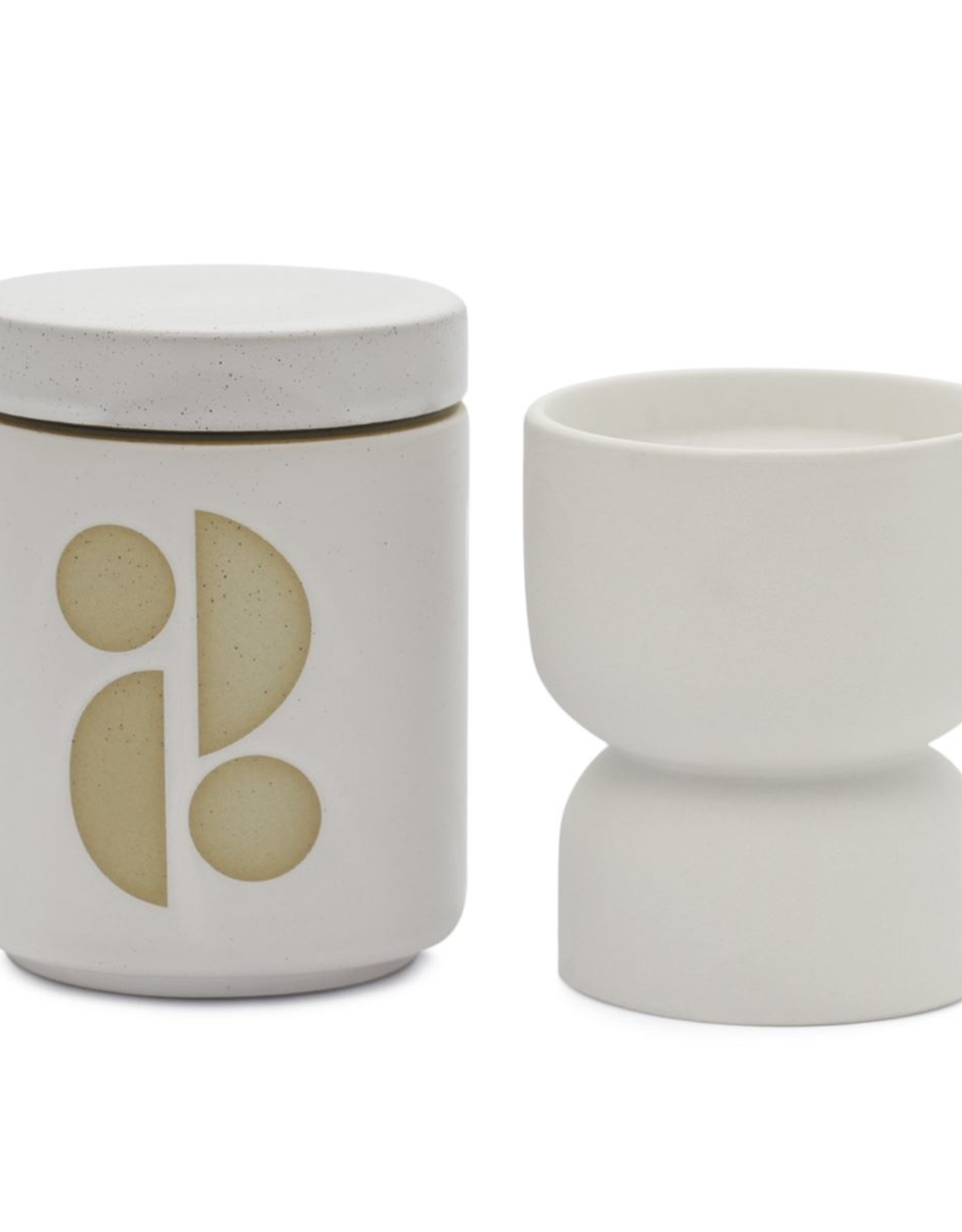 Paddywax Form 6 oz. White Matte Hourglass Textured Ceramic Candle- Tobacco Flower