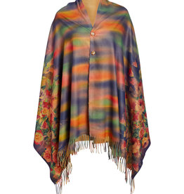 J & X International Fringes Floral  2 Button Poncho