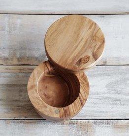 """Natural Olive Olive Wood Salt Cellar 4.7"""""""