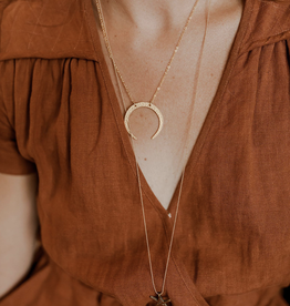 fate&Coincidence Little Gold Horn Moon Necklace