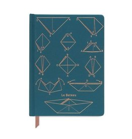 "designworks Teal Cloth Journal Notebook ""Le Bateau"""