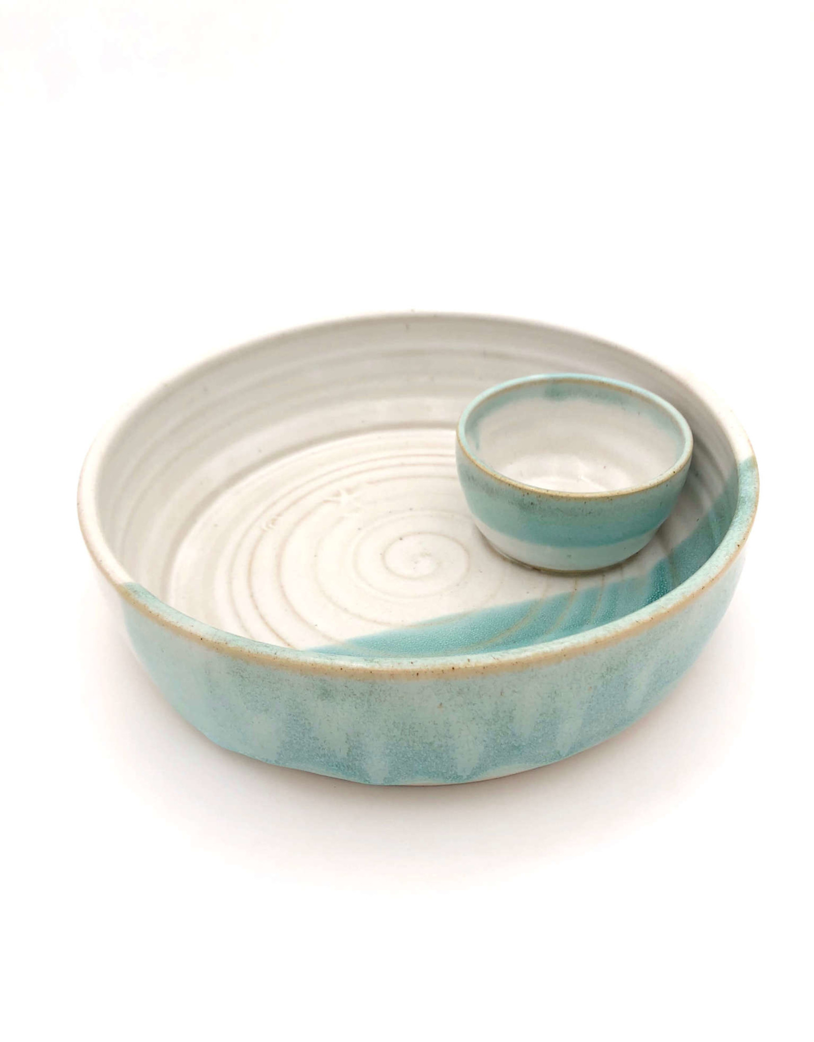 Mosquito Mud Pottery Large Stoneware Chip and Dip Bowl- Aqua
