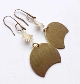 Brazed Brand Sun and Moon Brass Earrings