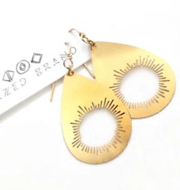 Brazed Brand Cutout Sunburst Brass Earrings