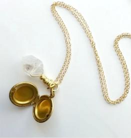 Brazed Brand Quartz Stone and Locket Necklace