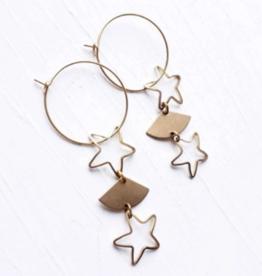 Brazed Brand Starry Night Brass Earrings