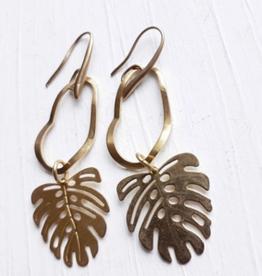 Brazed Brand Monstera Leaf Brass Earrings