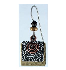 Earth Dreams Silver Pattern Square w/ Copper Swirl Black Bead & Brass Backing