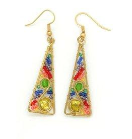 Dunitz & Company Rainbow Triangle Swirl Earrings