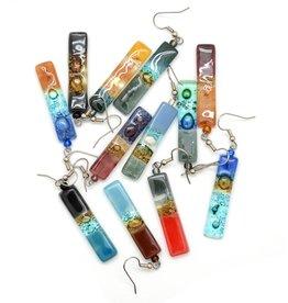 Dunitz & Company Skinny Rectangle Glass Earrings