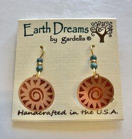 Earth Dreams Copper Swirling Sun w/ Blue Bead