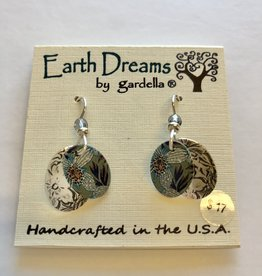 Earth Dreams Water Lily Oval with Silver Back Earrings