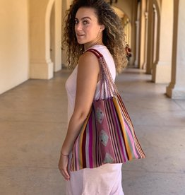 Lumily Poppy Hammock Striped Tote with Embroidery