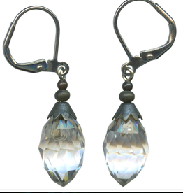 Owen Glass Colletion Clear Antique Czech Glass  Drop Earrings