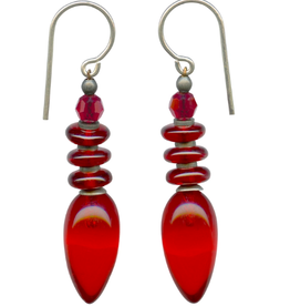 Owen Glass Colletion Bright Red Glass and Crystal Earrings