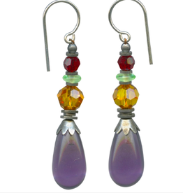 Owen Glass Colletion Amethyst Drop Earrings
