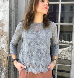 Cut Loose 3/4 Sleeve Boxy Lace Top - Overcast