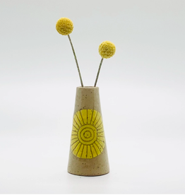 threet ceramics Tiny Vase in Brown Stoneware - Yellow Sun