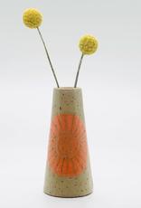threet ceramics Tiny Vase in Brown Stoneware - Orange Sun