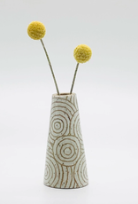 threet ceramics Tiny Vase in Brown Stoneware - White Concentric Circle