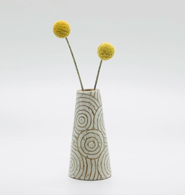 threet ceramics Tiny Vase in Brown Stoneware - White Concentric Circle