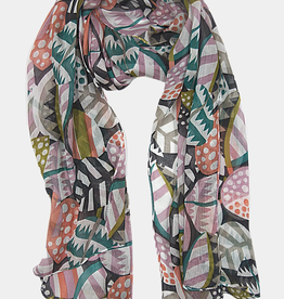 VSA Accessories Striped Leaves Scarf