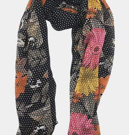 VSA Accessories Dots on Flowers Scarf- Black