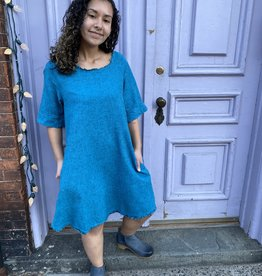 Cut Loose Short Sleeve Crosshatch Dress- Bahama