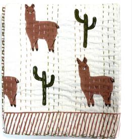 Mira Block Printed Kantha Quilt- Llama