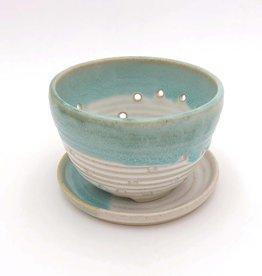 Mosquito Mud Pottery Berry Bowl With Saucer Aqua