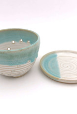 Mosquito Mud Pottery Berry Bowl With Saucer Aqua