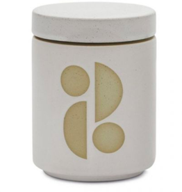 Paddywax Form 12 oz.  White Glazed Ceramic with Lid/  Candle-Tobacco Flower