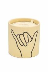 "Paddywax Impressions 5.75 oz. Yellow Ceramic w/ ""Hang Loose"" Ocean Rose & Bay Candle"