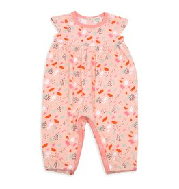 Viverano Organics Bloom Cap Sleeve Girls Playsuit Romper Blush