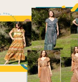 Zig Zag Floral Paisley V Neck Maxi Dress