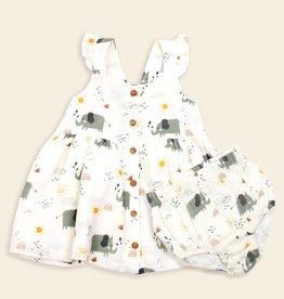 Viverano Organics Elephant Sleeveless Button Front Dress & Bloomer Set