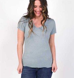 Plume & Thread Lola V-Neck Short Sleeve Top