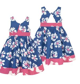 Global Mamas Baby-Twirl Dress-Tropics-Indigo-Organic