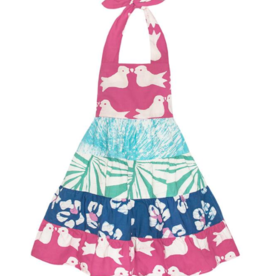 Global Mamas GIRLS CAROUSEL DRESS - TWO BIRDS: ROSE-ORGANIC