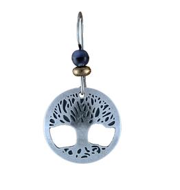 Earth Dreams Silver Tone Tree of Life earrings w/ Blue Beads