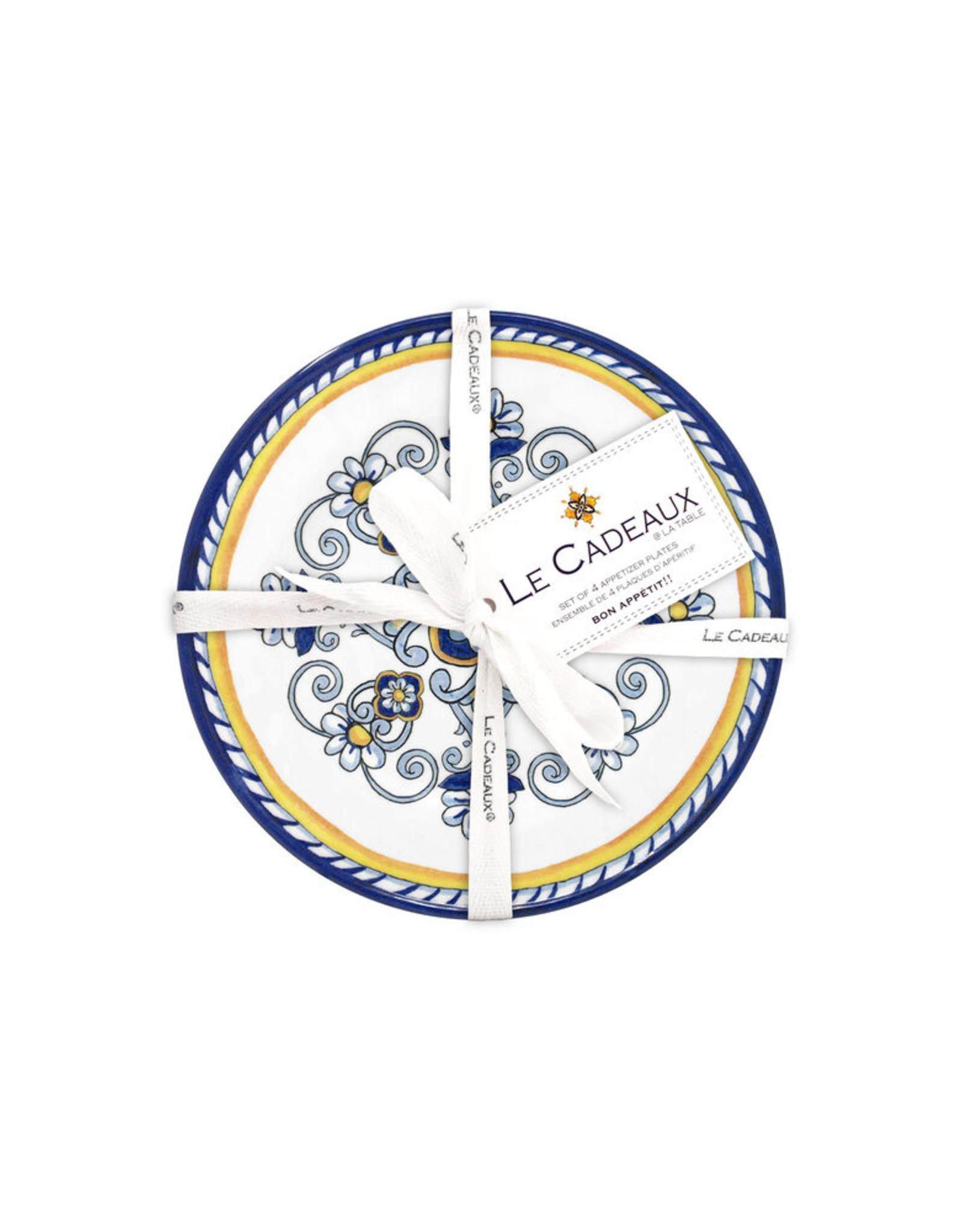 """le cadeaux Set of Four Appetizer Plates 6.5"""" Sorrento"""