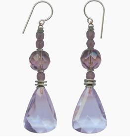 Owen Glass Colletion LIGHT AMETHYST GLASS DANGLE EARRINGS
