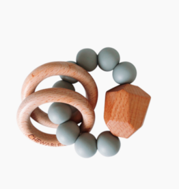 chewable charm Hayes Silicone + Wood Teether Ring - Grey