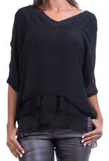 Gigi Moda V-Neck Kaftan Blouse (Black)